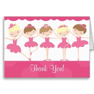 Sweet Ballerina Dance Birthday Thank You Note Card