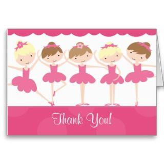 Sweet Ballerina Dance Birthday Thank You Note Card