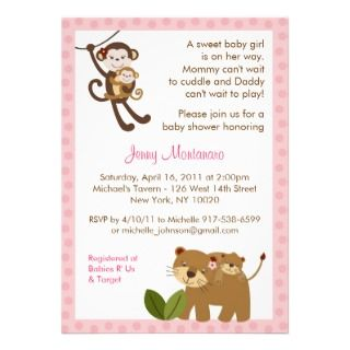 Baby Girl Jungle Animal Baby Shower Invitations