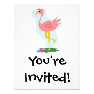 pink flamingo standing in the yard custom invitations
