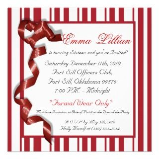 Chic Fun Candy Cane Sweet Sixteen Birthday Party Personalized