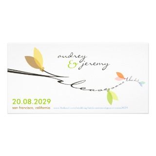 Four Seasons Branch Save The Date Announcement Custom Photo Card