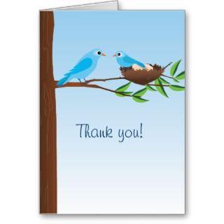 Little Blue Bird Baby Shower Thank You Card