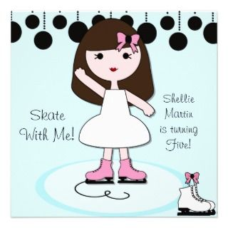 Brown Hair Girl Ice Skating Party Invitations