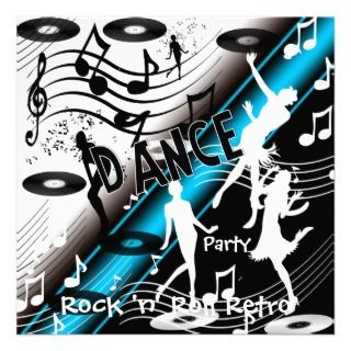 Invitation Rock n Roll Retro Dance Party