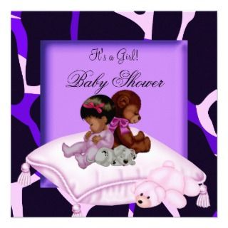 African American Baby Shower Girl Purple Custom Invites