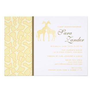 Twin Giraffes Baby Shower Invitation