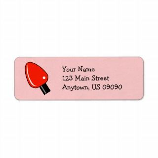 Christmas Light Bulb Address Labels (Red)