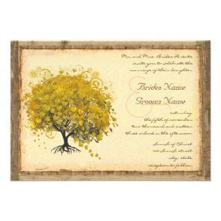 Whimsical Yellow Heart Tree Wedding Invitation
