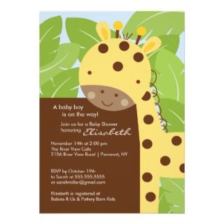 Yellow Giraffe Baby Shower Invitation