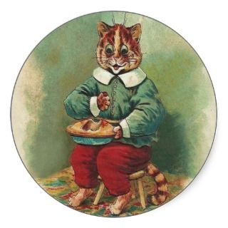 Cute Vintage Holiday Cat Sticker by Louis Wain stickers by
