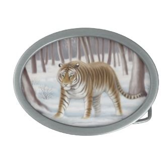 Siberian Tiger in Snow Belt Buckle