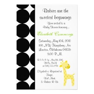 giraffe Baby Shower invite cute sweet green fun