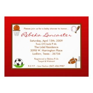 5x7 Red Boy Sports Football Baby Shower Invitation