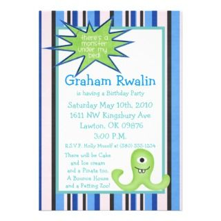 monster birthday party invite cute fun blue sweet