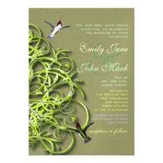 Hummingbirds Lime Tree Wedding Invitation