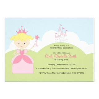 Blonde Hair Birthday Princess in Pink with Castle Personalized