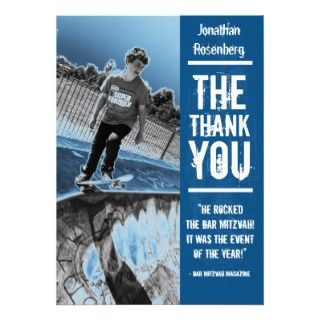 Rock Band Bar Mitzvah Thank You Card in Blue Announcements