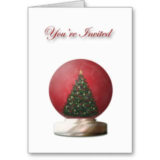 Christmas Tree Snow Globe Invitation Card