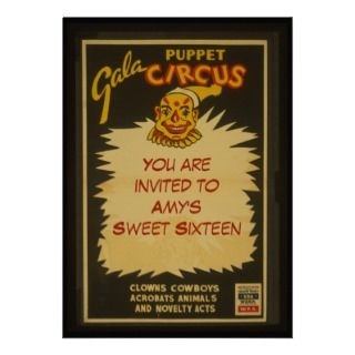 Sweet 16 birthday party, Vintage clown & circus Personalized