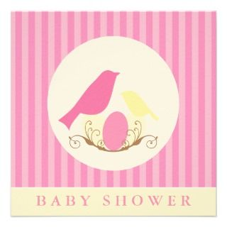 Birds Nest Baby Shower Invitiations Custom Announcements