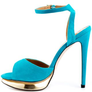 Kelsi Daggers Blue Chacha   Sky Blue Gold Suede for 109.99