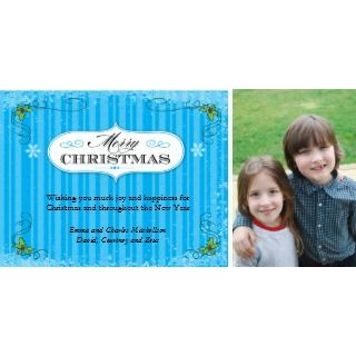 Vintage Stripes Blue Merry Christmas Stamp