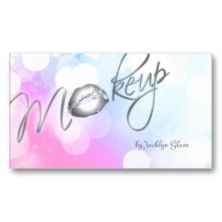 Makeup Business Card Silver Lips Pastel business cards by spacards