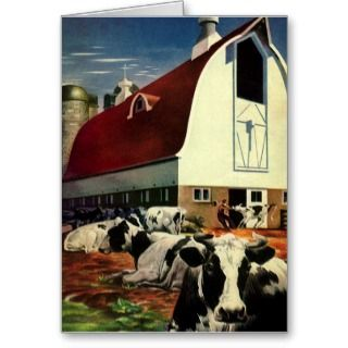 Vintage Business, Dairy Farm w Holstein Milk Cows Card
