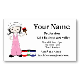 Painter painting business cards girl