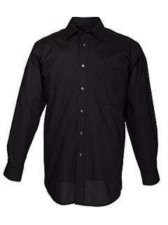 Double TWO Non iron poplin long sleeve shirt Black
