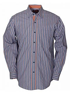 Double TWO Long Sleeve Cotton Stripe Casual Shirt Navy