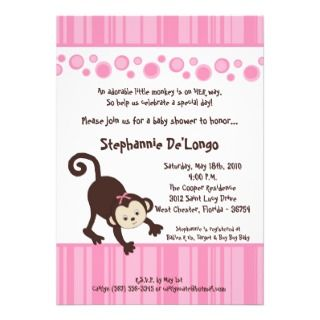 5x7 Pink Girl Pop Monkey Baby Shower Invitation