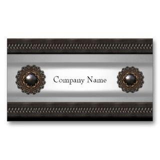 Leather Brown Metal Silver Skinny Business Card