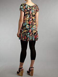 Lovedrobe Ruffle hem flower print gypsy tunic Black