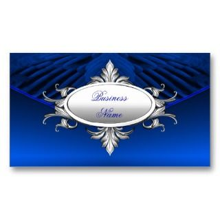 Elegant Business Card Art Deco Blue Silver Plaque