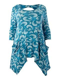 Koko Asymmetric graphic print tunic Blue