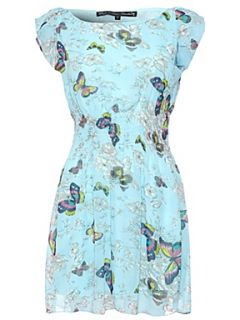 Mela Loves London Butterfly cap sleeve dress Blue