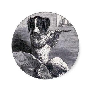 Dog Playing the Flute Vintage Illustration Round Sticker