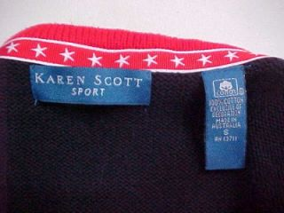 Up for your consideration is a fabulous Karen Scott navy, white and
