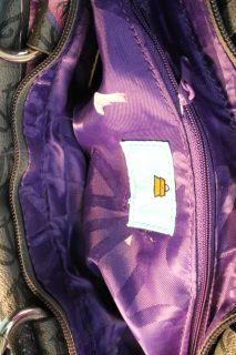 Kathy Van Zeeland Gray Textured Printed Satchel Handbag Medium BHFO