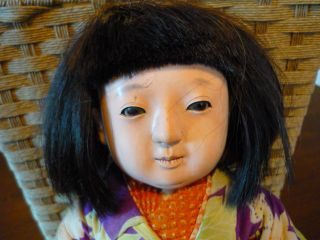 Vintage Japanese Geisha Ichimatsu Young Girl Composition Doll Silk