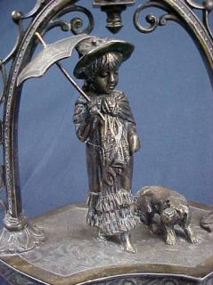 C1890 Victorian Silverplate Kate Greenaway w Dog Celery Frame Best I