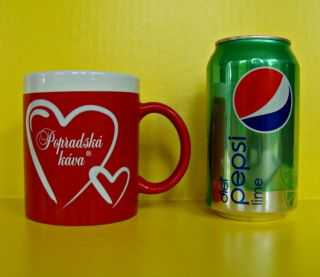 Popradska Kava Coffee Cup Mug Slovak Slovakia Ceramic Red White Hearts