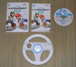 Wii Mario Kart Game w Steering Wheel 2008 Complete Case Instructions