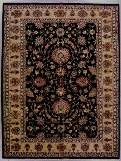 9x12 Black Gold Persian Kashan Oriental Hand Knotted Wool Area Rug