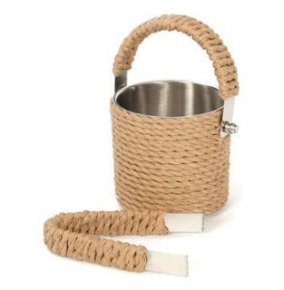 Nautical Beach Rope Covered Ice Bucket and Tong Set