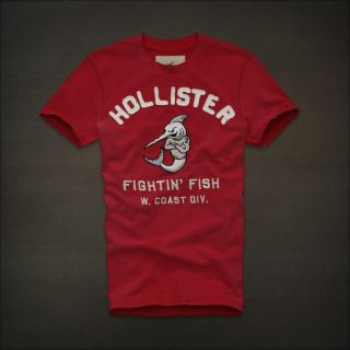 Hollister by Abercrombie Emma Wood Men Graphic Tee T Shirt Top Red