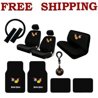 16pcs Set Angry Birds Car Seat Covers Steering Wheel Cover Floor Mats
