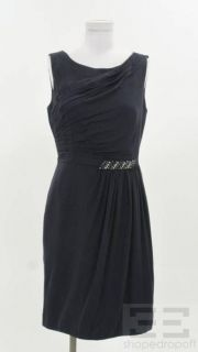 Kay Unger Navy Blue Pleated Silk Beaded Dress Size 8